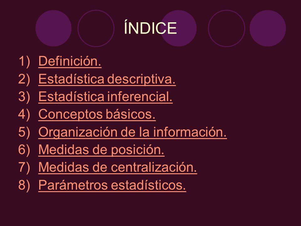 1.Definición. Procedimientos para recoger, clasificar, resumir y analizar datos.