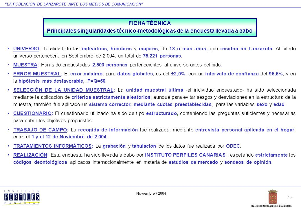 LA POBLACIÓN DE LANZAROTE ANTE LOS MEDIOS DE COMUNICACIÓN 4.- CABILDO INSULAR DE LANZAROTE Noviembre / 2004 UNIVERSO: Totalidad de las individuos, hom