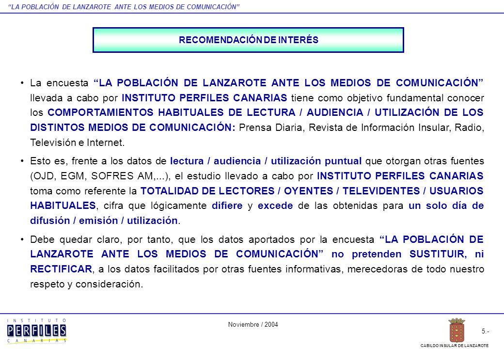 LA POBLACIÓN DE LANZAROTE ANTE LOS MEDIOS DE COMUNICACIÓN 5.- CABILDO INSULAR DE LANZAROTE Noviembre / 2004 La encuesta LA POBLACIÓN DE LANZAROTE ANTE LOS MEDIOS DE COMUNICACIÓN llevada a cabo por INSTITUTO PERFILES CANARIAS tiene como objetivo fundamental conocer los COMPORTAMIENTOS HABITUALES DE LECTURA / AUDIENCIA / UTILIZACIÓN DE LOS DISTINTOS MEDIOS DE COMUNICACIÓN: Prensa Diaria, Revista de Información Insular, Radio, Televisión e Internet.