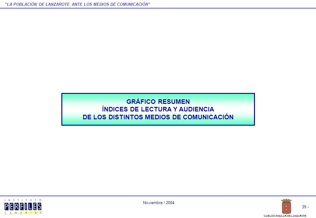 LA POBLACIÓN DE LANZAROTE ANTE LOS MEDIOS DE COMUNICACIÓN 39.- CABILDO INSULAR DE LANZAROTE Noviembre / 2004 GRÁFICO RESUMEN ÍNDICES DE LECTURA Y AUDI