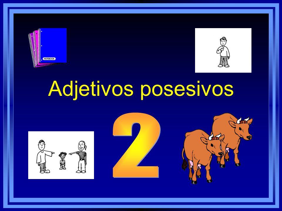 Aquí están ______ dos vacas. tu su nuestro su mimis tus sus nuestros sus vuestrosvuestro