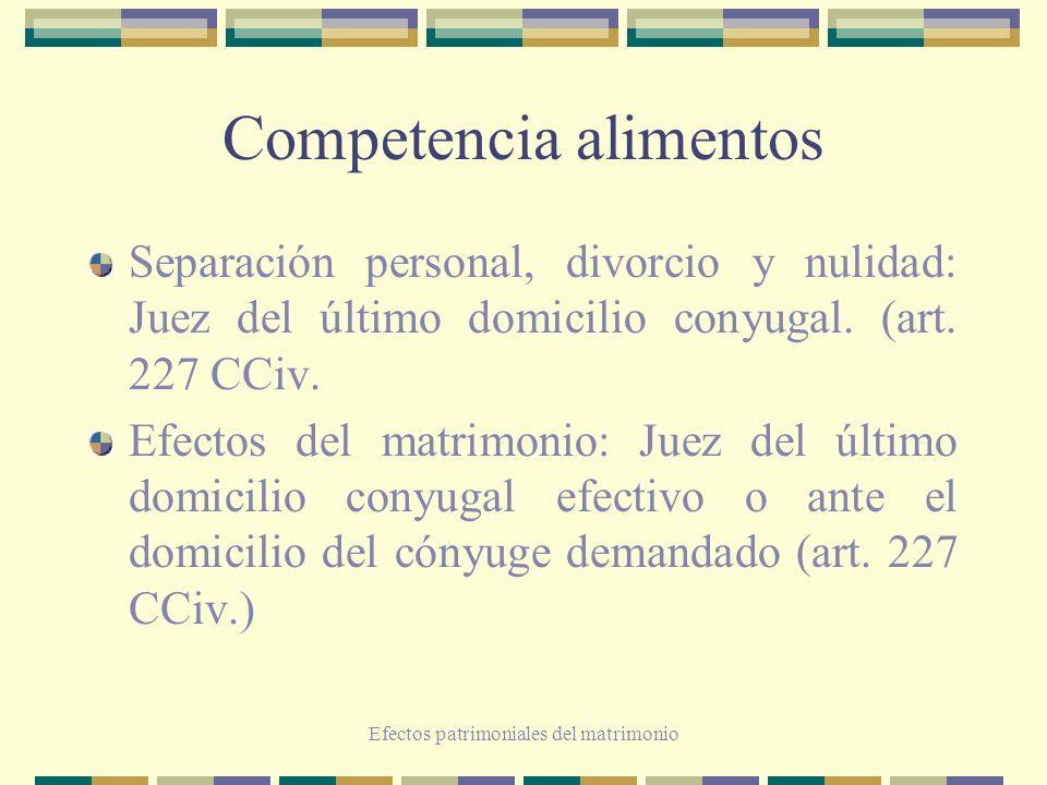 Efectos patrimoniales del matrimonio Competencia alimentos Separación personal, divorcio y nulidad: Juez del último domicilio conyugal. (art. 227 CCiv