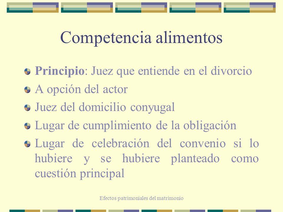 Efectos patrimoniales del matrimonio Competencia alimentos Principio: Juez que entiende en el divorcio A opción del actor Juez del domicilio conyugal