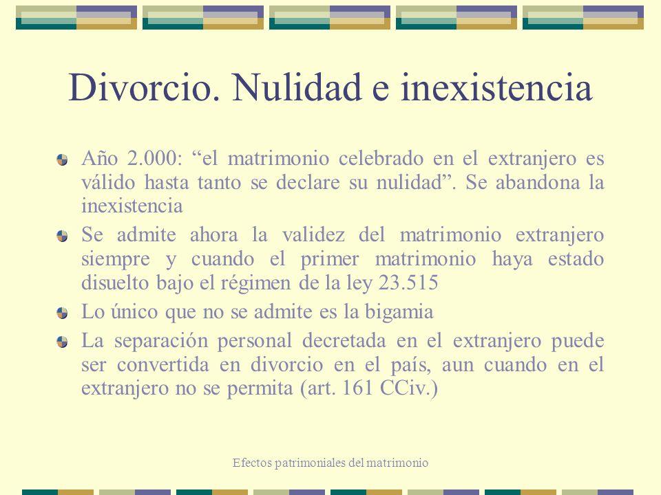 Efectos patrimoniales del matrimonio Divorcio. Nulidad e inexistencia Año 2.000: el matrimonio celebrado en el extranjero es válido hasta tanto se dec