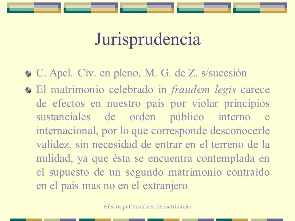 Efectos patrimoniales del matrimonio Jurisprudencia C. Apel. Civ. en pleno, M. G. de Z. s/sucesión El matrimonio celebrado in fraudem legis carece de