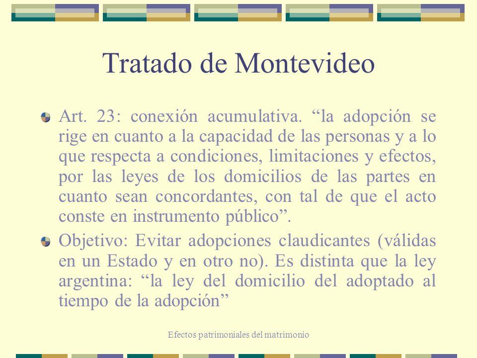 Efectos patrimoniales del matrimonio Tratado de Montevideo Art. 23: conexión acumulativa. la adopción se rige en cuanto a la capacidad de las personas