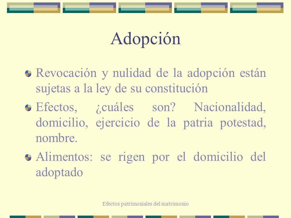 Efectos patrimoniales del matrimonio Adopción Revocación y nulidad de la adopción están sujetas a la ley de su constitución Efectos, ¿cuáles son? Naci