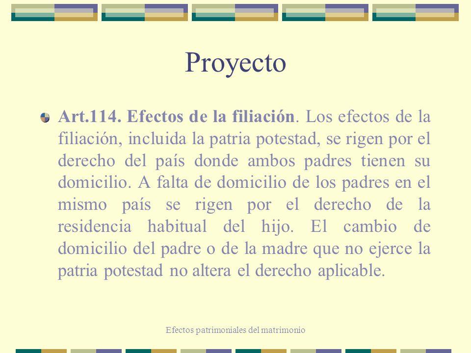 Efectos patrimoniales del matrimonio Proyecto Art.114. Efectos de la filiación. Los efectos de la filiación, incluida la patria potestad, se rigen por