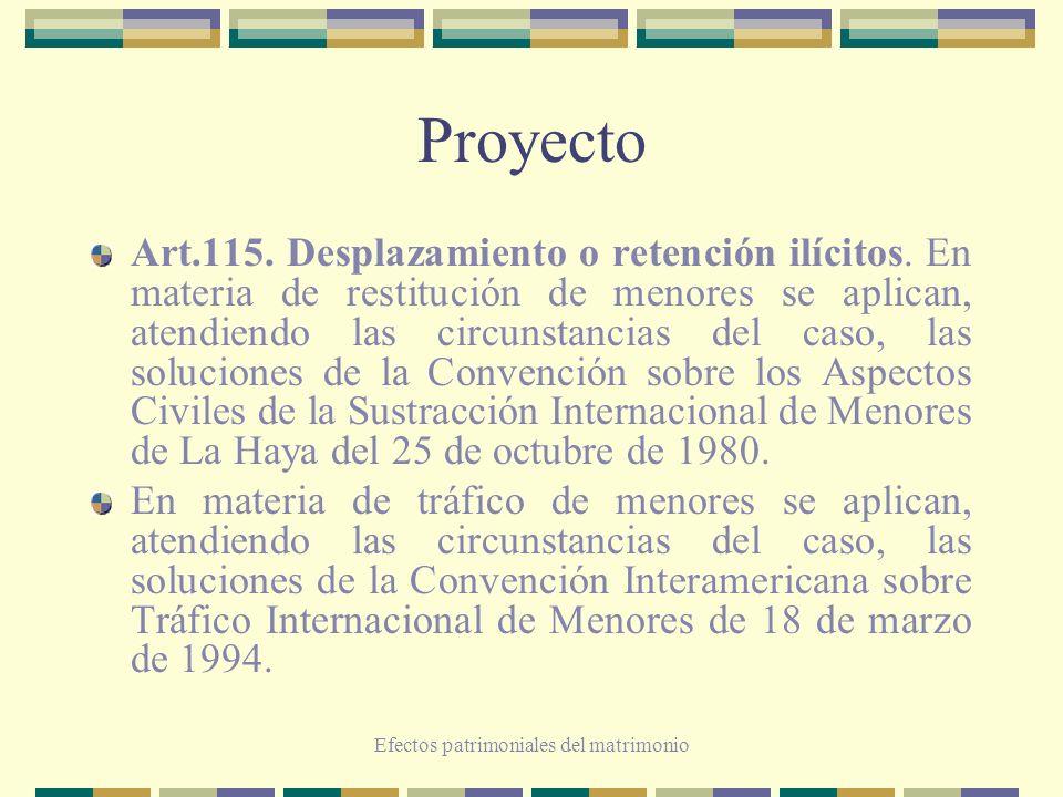 Efectos patrimoniales del matrimonio Proyecto Art.115. Desplazamiento o retención ilícitos. En materia de restitución de menores se aplican, atendiend