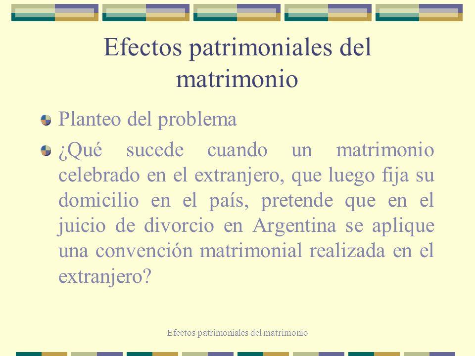 Efectos patrimoniales del matrimonio Planteo del problema ¿Qué sucede cuando un matrimonio celebrado en el extranjero, que luego fija su domicilio en