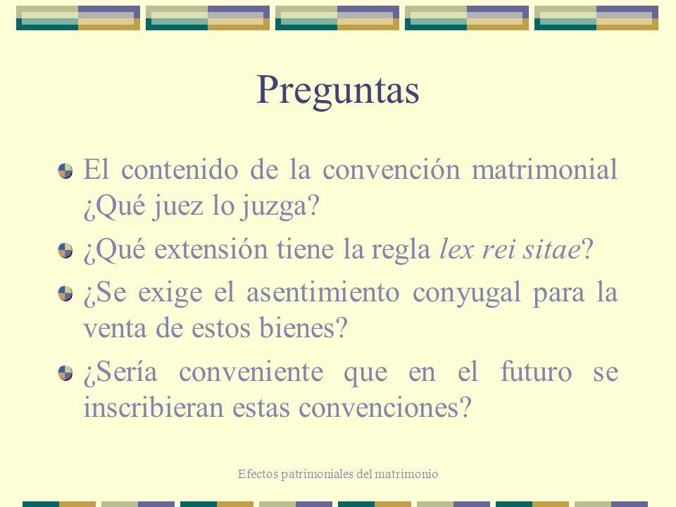Efectos patrimoniales del matrimonio Preguntas El contenido de la convención matrimonial ¿Qué juez lo juzga? ¿Qué extensión tiene la regla lex rei sit