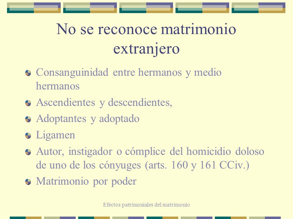 Efectos patrimoniales del matrimonio Sí se reconoce matrimonio extranjero Matrimonio a distancia: art.