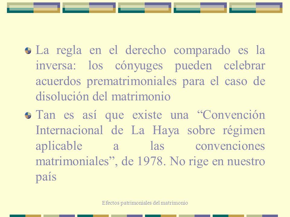 Efectos patrimoniales del matrimonio La regla en el derecho comparado es la inversa: los cónyuges pueden celebrar acuerdos prematrimoniales para el ca