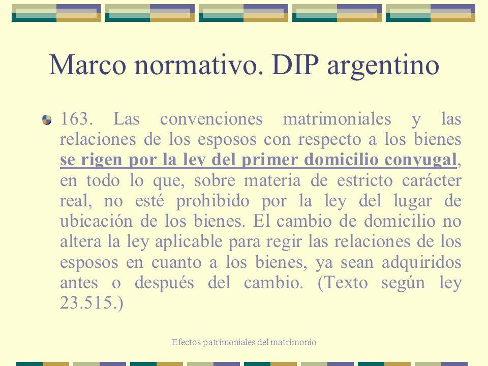 Efectos patrimoniales del matrimonio Marco normativo. DIP argentino 163. Las convenciones matrimoniales y las relaciones de los esposos con respecto a