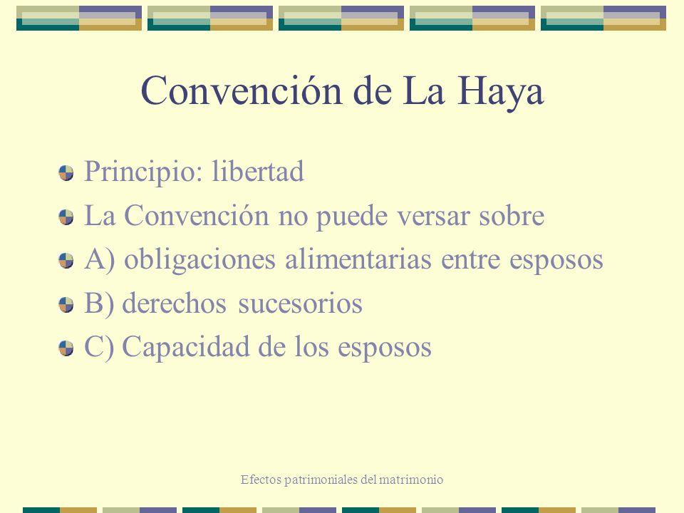 Efectos patrimoniales del matrimonio Convención de La Haya Principio: libertad La Convención no puede versar sobre A) obligaciones alimentarias entre