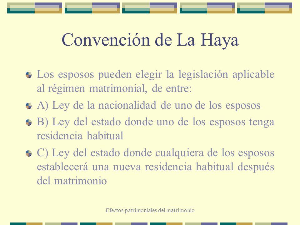 Efectos patrimoniales del matrimonio Convención de La Haya Los esposos pueden elegir la legislación aplicable al régimen matrimonial, de entre: A) Ley