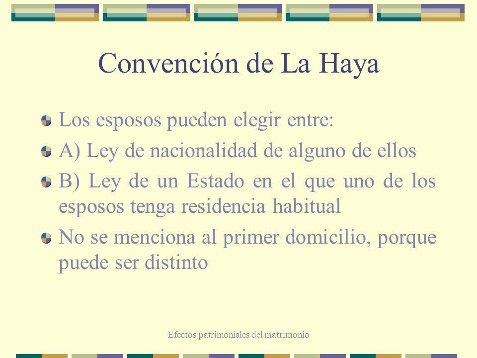 Efectos patrimoniales del matrimonio Convención de La Haya Los esposos pueden elegir entre: A) Ley de nacionalidad de alguno de ellos B) Ley de un Est