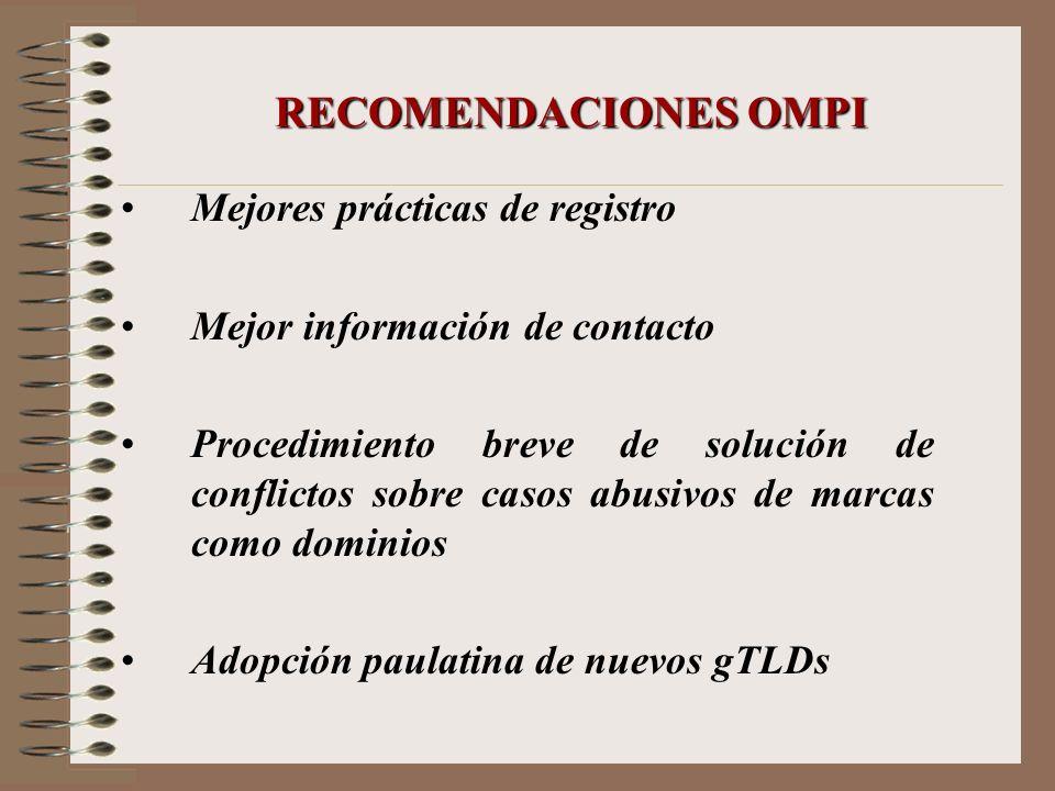 RECOMENDACIONES OMPI Mejores prácticas de registro Mejor información de contacto Procedimiento breve de solución de conflictos sobre casos abusivos de