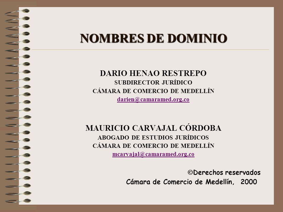 NOMBRES DE DOMINIO DARIO HENAO RESTREPO SUBDIRECTOR JURÍDICO CÁMARA DE COMERCIO DE MEDELLÍN darien@camaramed.org.co MAURICIO CARVAJAL CÓRDOBA ABOGADO