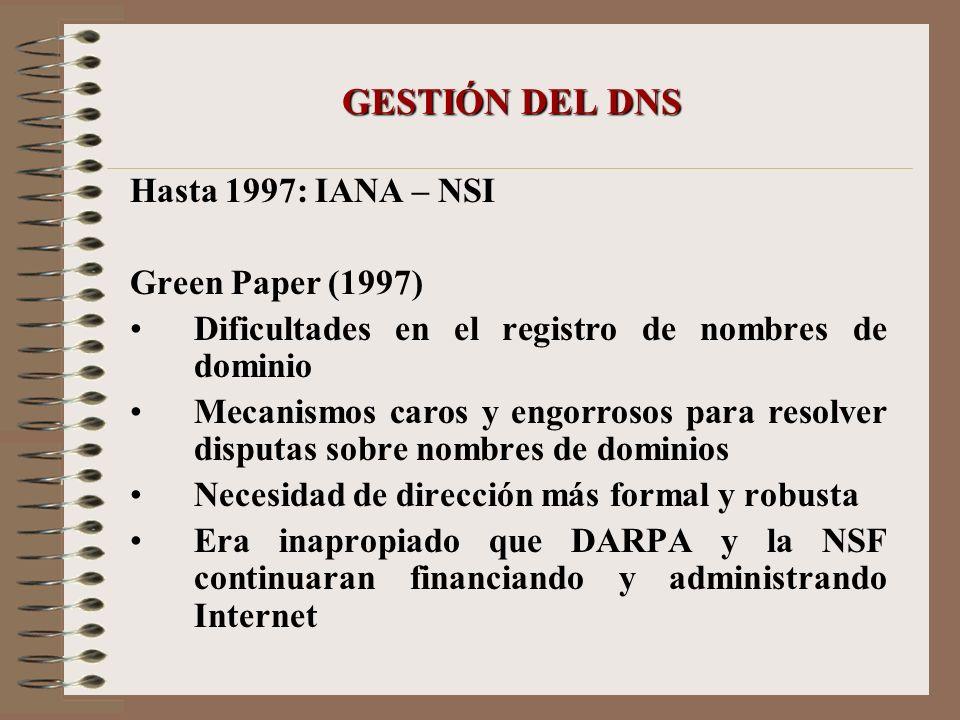GESTIÓN DEL DNS Hasta 1997: IANA – NSI Green Paper (1997) Dificultades en el registro de nombres de dominio Mecanismos caros y engorrosos para resolve