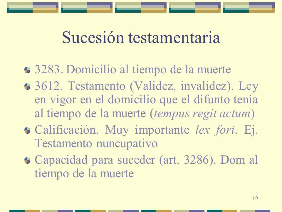 10 Sucesión testamentaria 3283. Domicilio al tiempo de la muerte 3612. Testamento (Validez, invalidez). Ley en vigor en el domicilio que el difunto te