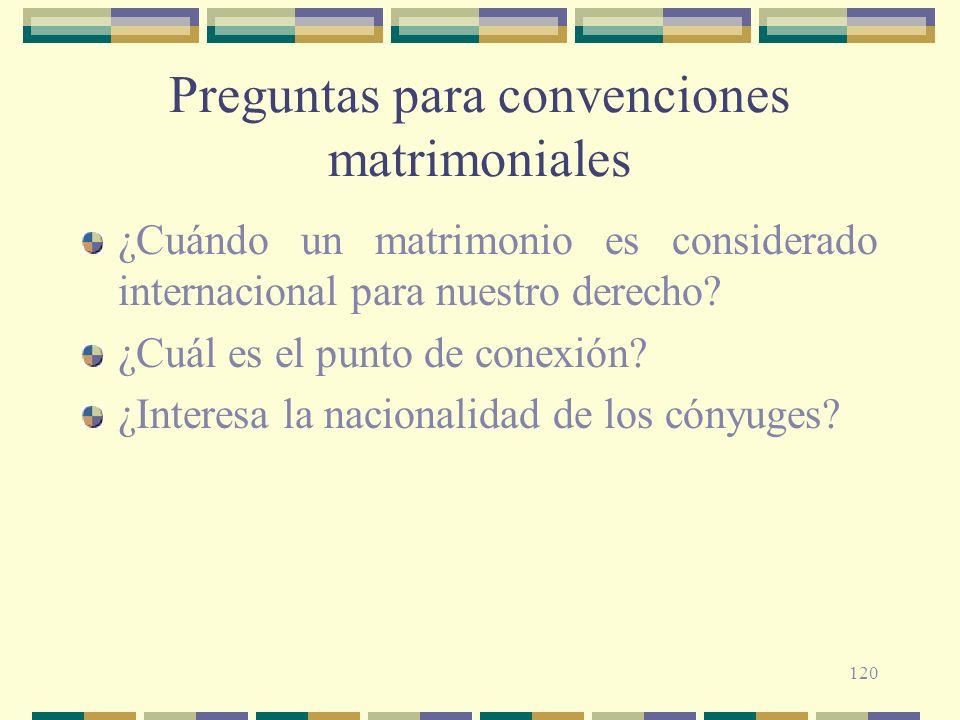 120 Preguntas para convenciones matrimoniales ¿Cuándo un matrimonio es considerado internacional para nuestro derecho? ¿Cuál es el punto de conexión?