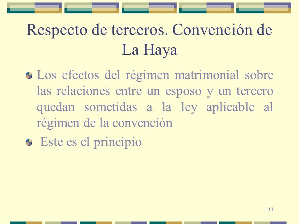 134 Respecto de terceros. Convención de La Haya Los efectos del régimen matrimonial sobre las relaciones entre un esposo y un tercero quedan sometidas