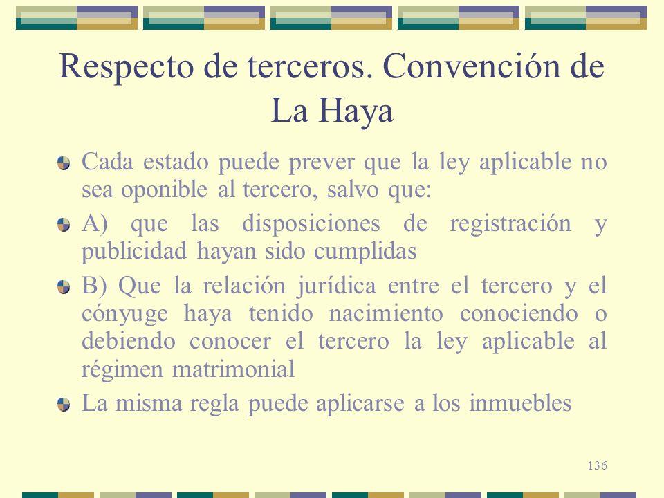 136 Respecto de terceros. Convención de La Haya Cada estado puede prever que la ley aplicable no sea oponible al tercero, salvo que: A) que las dispos