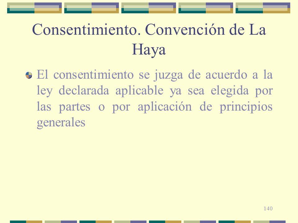 140 Consentimiento. Convención de La Haya El consentimiento se juzga de acuerdo a la ley declarada aplicable ya sea elegida por las partes o por aplic