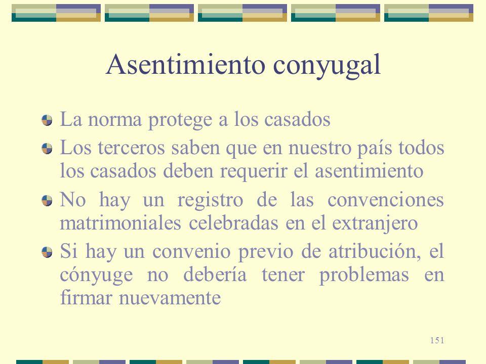 151 Asentimiento conyugal La norma protege a los casados Los terceros saben que en nuestro país todos los casados deben requerir el asentimiento No ha
