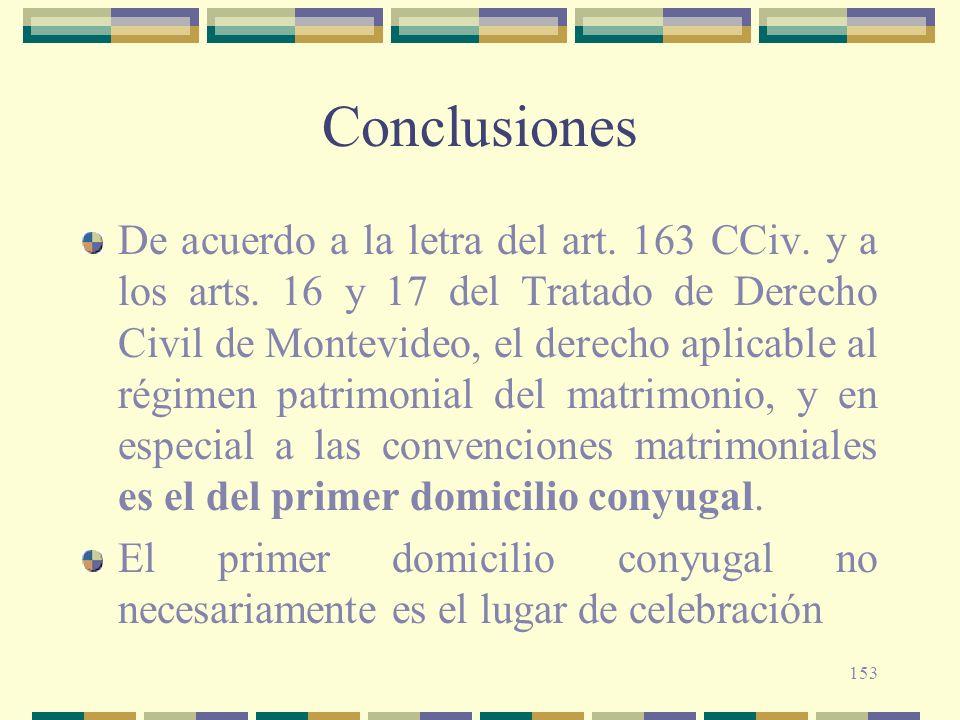 153 Conclusiones De acuerdo a la letra del art. 163 CCiv. y a los arts. 16 y 17 del Tratado de Derecho Civil de Montevideo, el derecho aplicable al ré