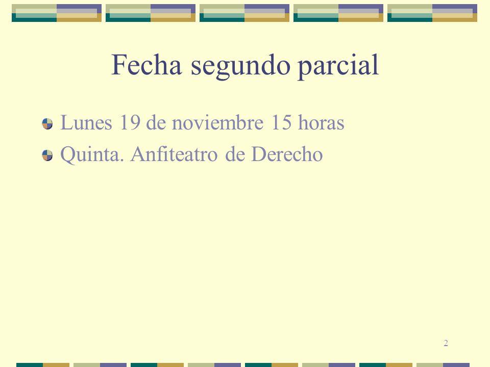 2 Fecha segundo parcial Lunes 19 de noviembre 15 horas Quinta. Anfiteatro de Derecho