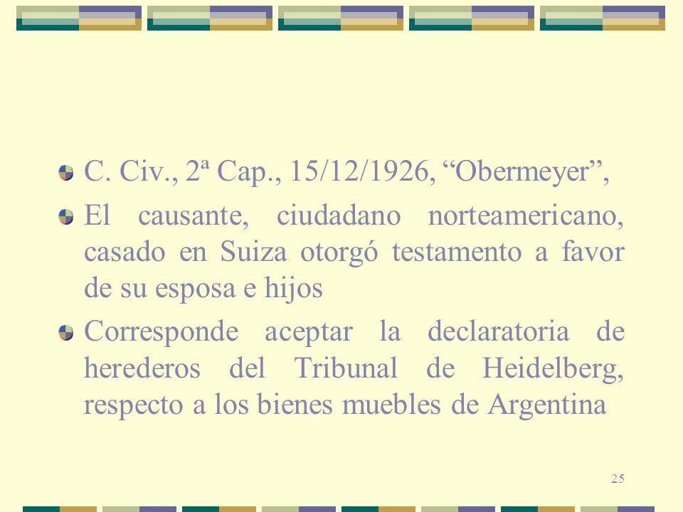25 C. Civ., 2ª Cap., 15/12/1926, Obermeyer, El causante, ciudadano norteamericano, casado en Suiza otorgó testamento a favor de su esposa e hijos Corr