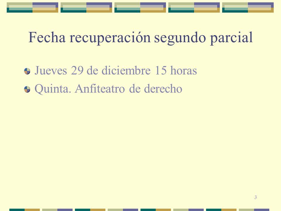 3 Fecha recuperación segundo parcial Jueves 29 de diciembre 15 horas Quinta. Anfiteatro de derecho