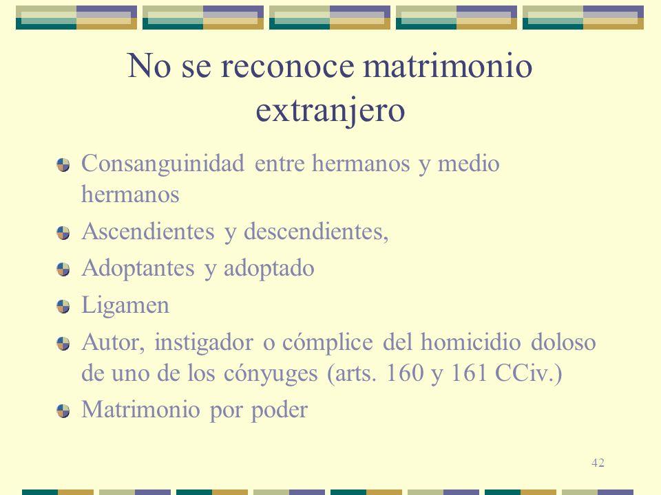 42 No se reconoce matrimonio extranjero Consanguinidad entre hermanos y medio hermanos Ascendientes y descendientes, Adoptantes y adoptado Ligamen Aut