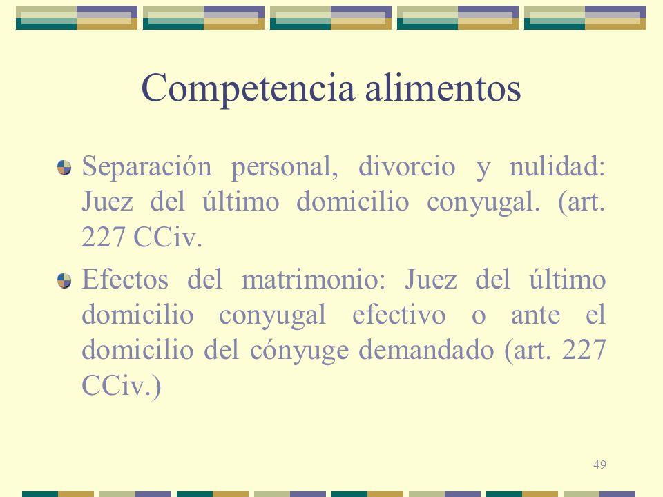 49 Competencia alimentos Separación personal, divorcio y nulidad: Juez del último domicilio conyugal. (art. 227 CCiv. Efectos del matrimonio: Juez del