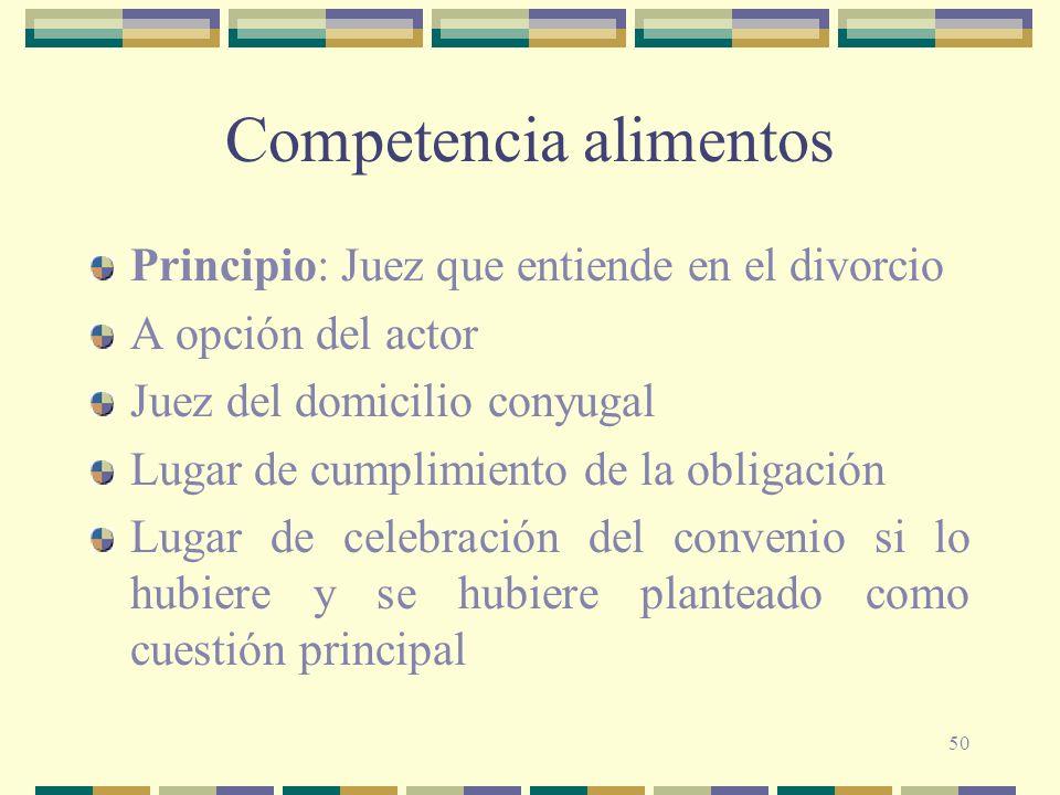 50 Competencia alimentos Principio: Juez que entiende en el divorcio A opción del actor Juez del domicilio conyugal Lugar de cumplimiento de la obliga