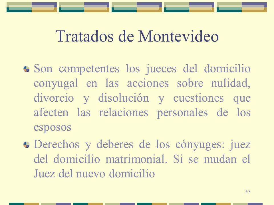 53 Tratados de Montevideo Son competentes los jueces del domicilio conyugal en las acciones sobre nulidad, divorcio y disolución y cuestiones que afec