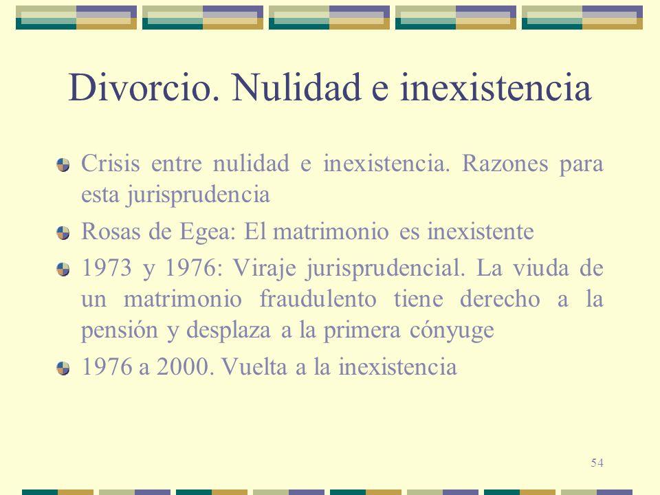 54 Divorcio. Nulidad e inexistencia Crisis entre nulidad e inexistencia. Razones para esta jurisprudencia Rosas de Egea: El matrimonio es inexistente