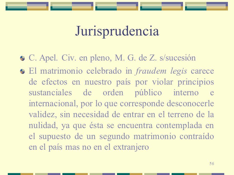 56 Jurisprudencia C. Apel. Civ. en pleno, M. G. de Z. s/sucesión El matrimonio celebrado in fraudem legis carece de efectos en nuestro país por violar
