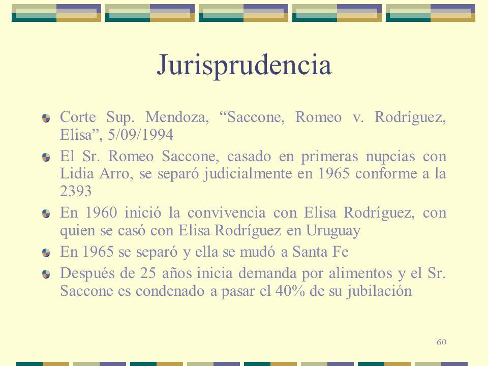 60 Jurisprudencia Corte Sup. Mendoza, Saccone, Romeo v. Rodríguez, Elisa, 5/09/1994 El Sr. Romeo Saccone, casado en primeras nupcias con Lidia Arro, s