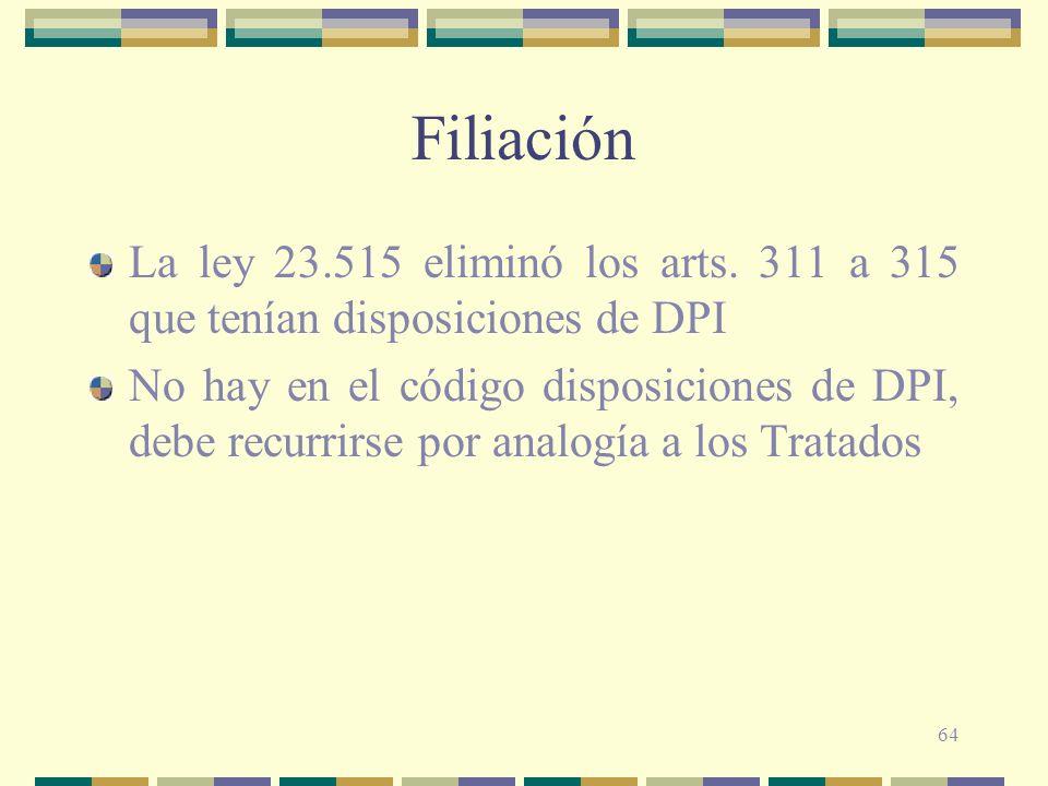 64 Filiación La ley 23.515 eliminó los arts. 311 a 315 que tenían disposiciones de DPI No hay en el código disposiciones de DPI, debe recurrirse por a