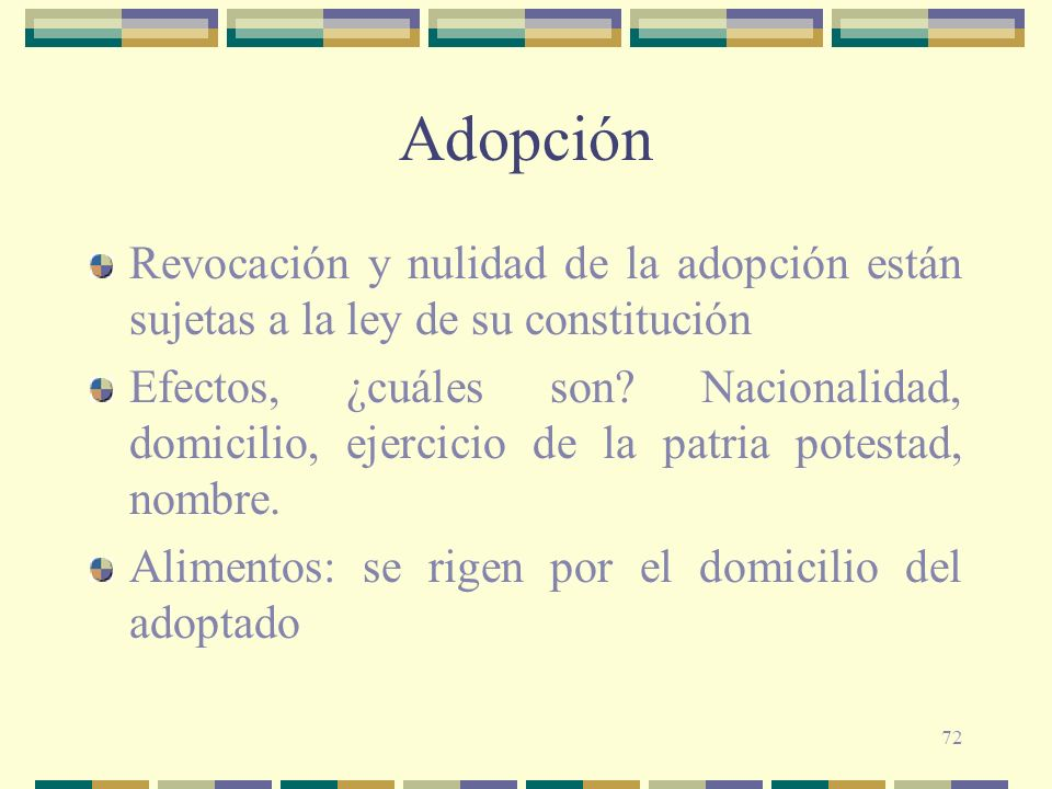 72 Adopción Revocación y nulidad de la adopción están sujetas a la ley de su constitución Efectos, ¿cuáles son? Nacionalidad, domicilio, ejercicio de