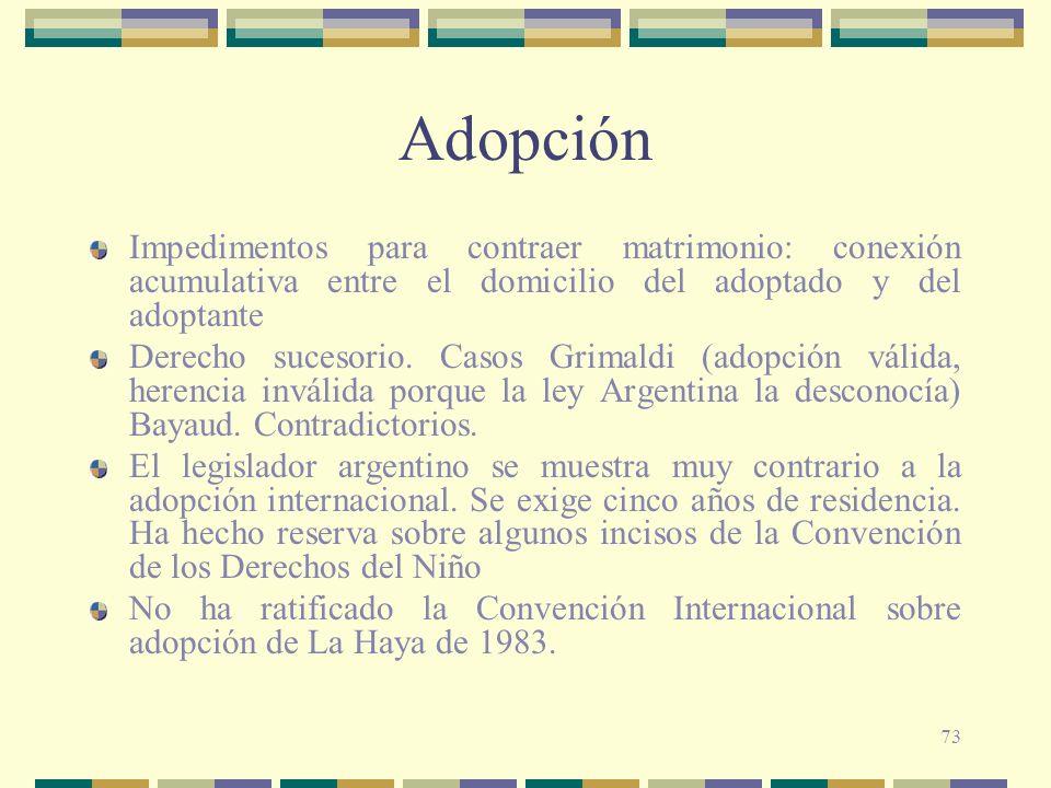 73 Adopción Impedimentos para contraer matrimonio: conexión acumulativa entre el domicilio del adoptado y del adoptante Derecho sucesorio. Casos Grima