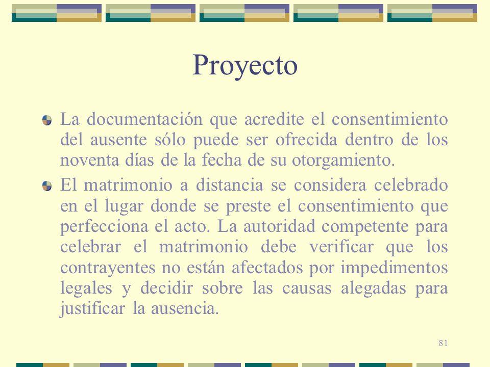 81 Proyecto La documentación que acredite el consentimiento del ausente sólo puede ser ofrecida dentro de los noventa días de la fecha de su otorgamie