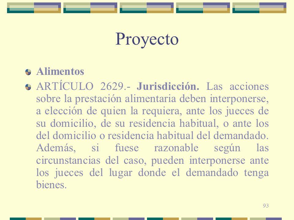 93 Proyecto Alimentos ARTÍCULO 2629.- Jurisdicción. Las acciones sobre la prestación alimentaria deben interponerse, a elección de quien la requiera,