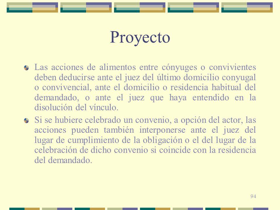 94 Proyecto Las acciones de alimentos entre cónyuges o convivientes deben deducirse ante el juez del último domicilio conyugal o convivencial, ante el
