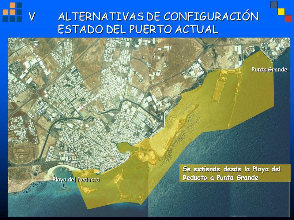 VALTERNATIVAS DE CONFIGURACIÓN ESTADO DEL PUERTO ACTUAL Se extiende desde la Playa del Reducto a Punta Grande Punta Grande Playa del Reducto