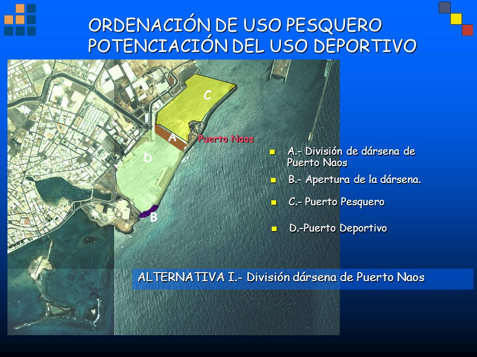 ORDENACIÓN DE USO PESQUERO POTENCIACIÓN DEL USO DEPORTIVO Puerto Naos B A D ALTERNATIVA I.- División dársena de Puerto Naos B.- Apertura de la dársena