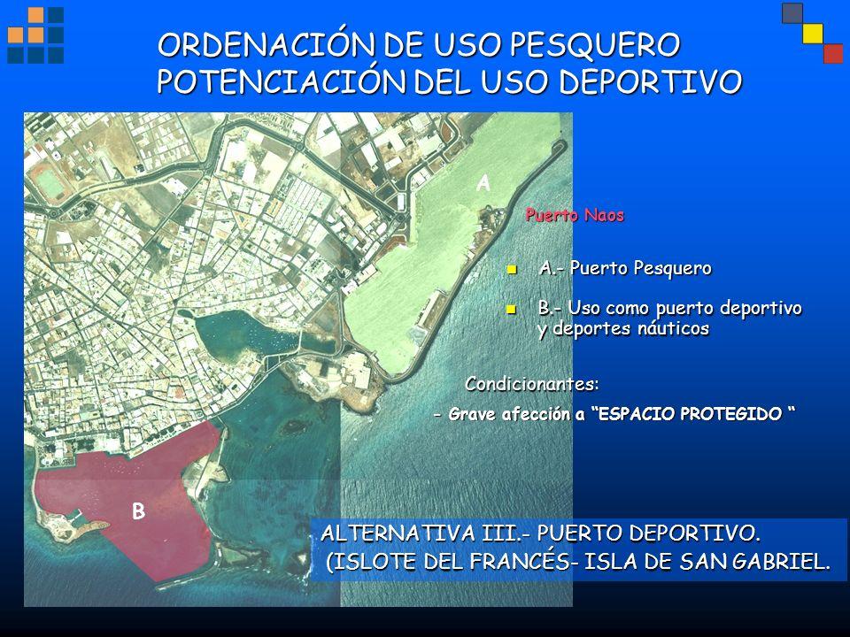 ORDENACIÓN DE USO PESQUERO POTENCIACIÓN DEL USO DEPORTIVO Puerto Naos ALTERNATIVA III.- PUERTO DEPORTIVO. (ISLOTE DEL FRANCÉS- ISLA DE SAN GABRIEL. (I
